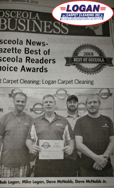 A Local Newspaper Awarded Logan Carpet Cleaning the Reader's Choice for Best Carpet Cleaner